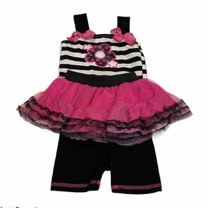 Little Lass 3-Piece Outfit Flower Bows Tutu Skirt